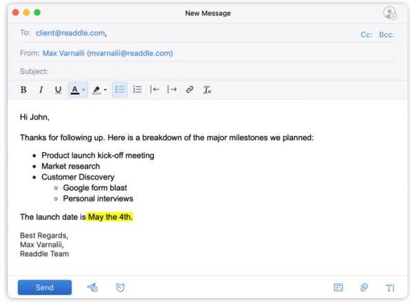 mise en forme de texte avec spark mail