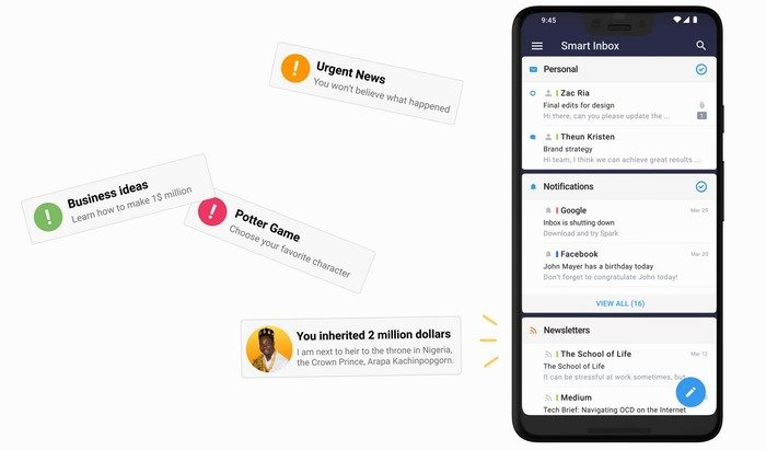 messagerie readdle spark mail pour android
