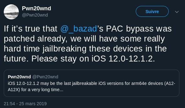 pwn20wnd status jailbreak ios 12.2