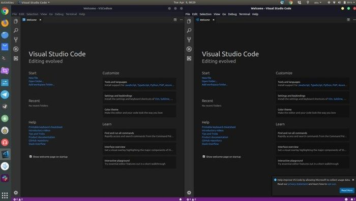 vscodium vs visual studio code