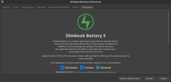 menu optimiseur de batterie sur linux