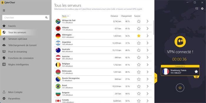 Tous les serveurs VPN disponibles avec CyberGhost