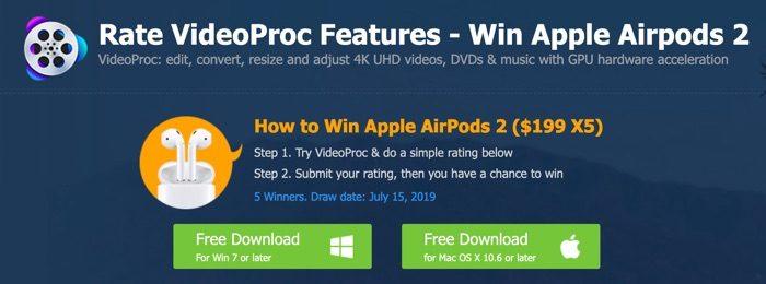 concours airpods apple videoproc