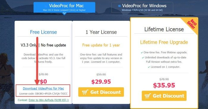 licence gratuite videoproc