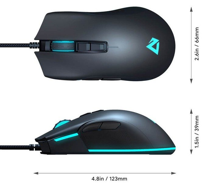 dimensions souris gamer aukey gm-f1