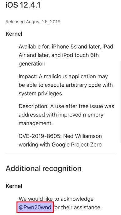 apple credite @pwn20wnd faille jailbreak ios 12.4.1