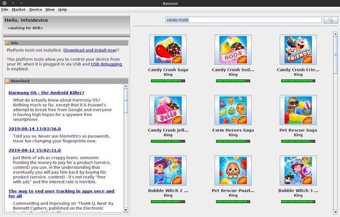 exemple recherche apk avec raccoon sur linux