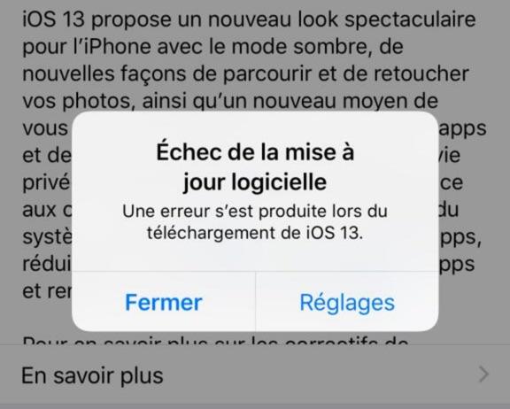 Echec Mise A Jour Logicielle Iphone Ios 13