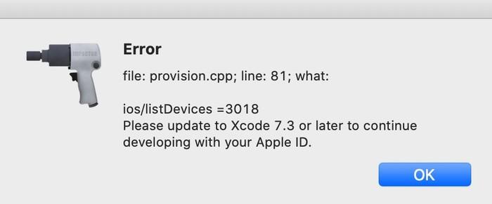 Erreur Cydia Impactor Xcode 7.3