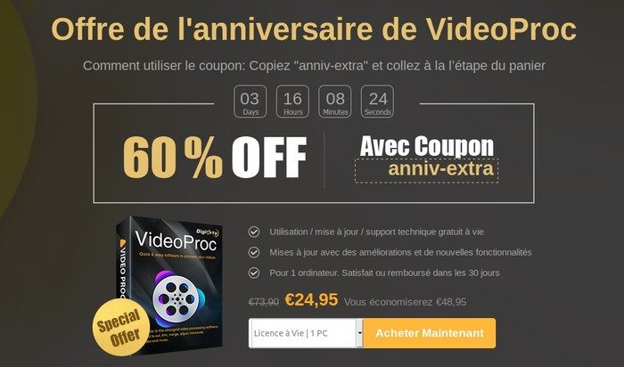 Offre Anniversaire Videoproc Digiarty