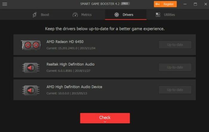 Reglages Smart Game Booster Drivers