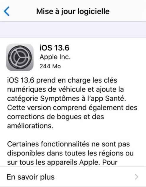 Mise A Jour Apple Ios 13.6