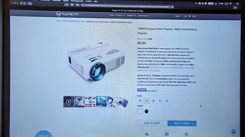 Test Mini Projecteur Vankyo Leisure 3 Visualisation Internet