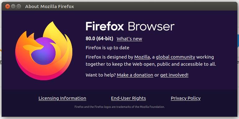 Navigateur Mozilla Firefox 80