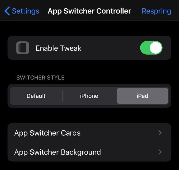 Reglages Tweak App Switcher Controller