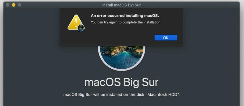 Erreur Installation Macos Big Sur Macbook