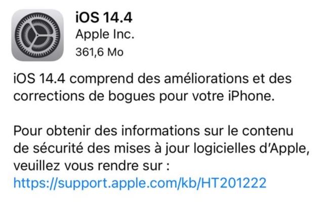 Informations Securites Ios 14.4 Apple