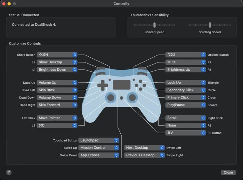 Application Controlly Pour Controler Mac Avec Manette Playstation Xbox