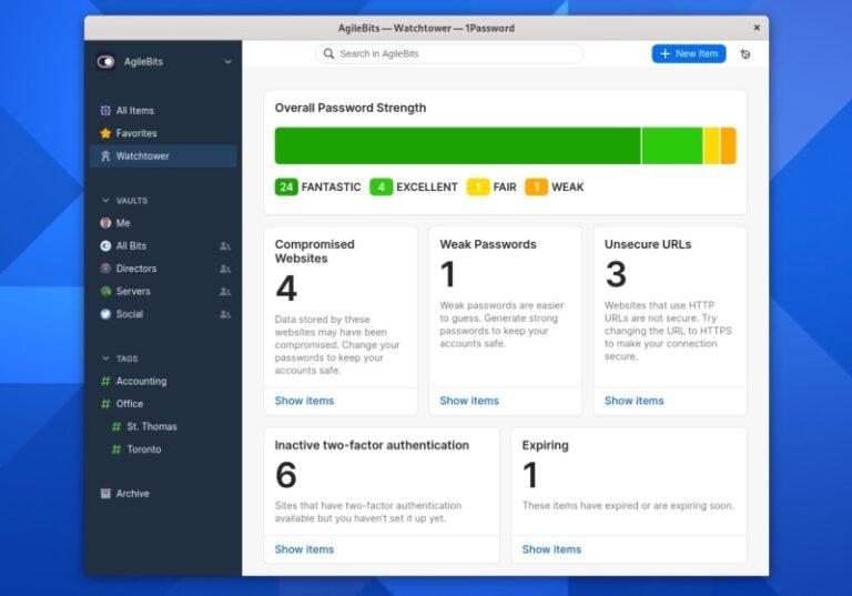 1password linux app sur fedora