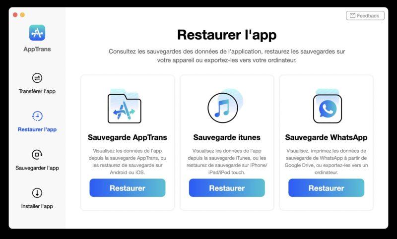 apptrans restaurer application