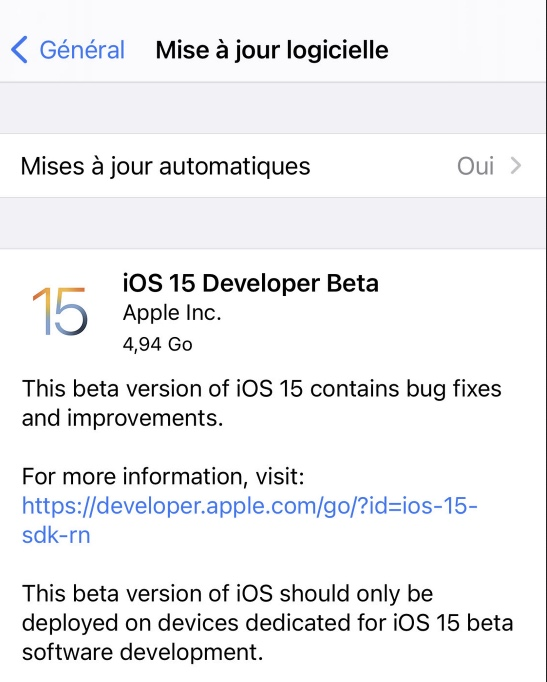 telecharger ios 15 beta iphone