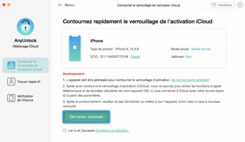 anyunlock contourner rapidement verrouillage activation icloud