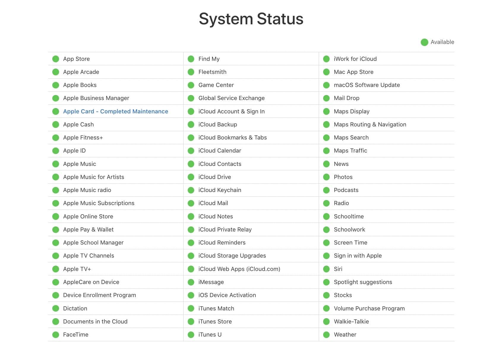 status systeme apple