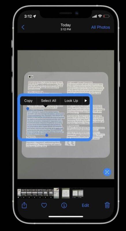 tweak live text ios 15