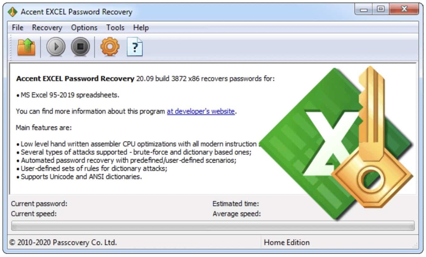 supprimer mot de passe accent excel password recovery