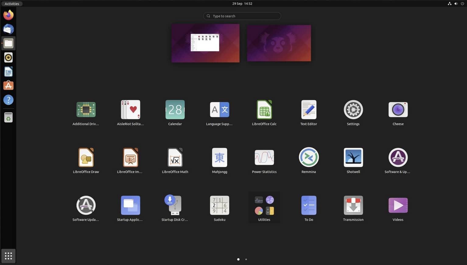 ubuntu 21.10 bureau gnome 40